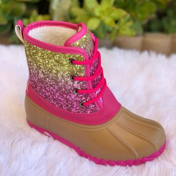 Girls Rainbow Glitters Duck Boots